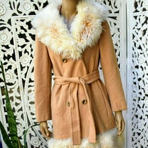 Vintage 70s wool and faux fur trench Size M